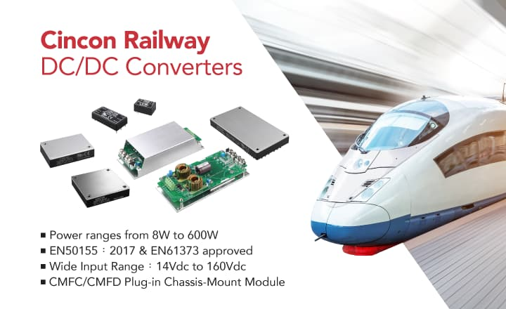 Cincon DC/DC Converters for Railway